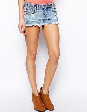 Immagine 4 di ASOS - Pantaloncini di jeans a vita bassa con monete