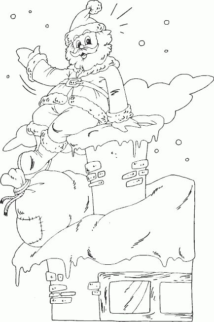 santa on chimney coloring page - Coloring.com