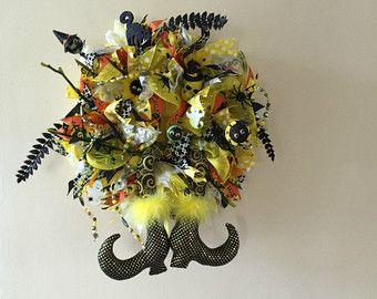 Ghirlanda di Halloween di Deco Mesh, corona di strega, strega porta corona, Halloween porta Decor, corona del cappello di strega, strega porta Decor, decorazione di Halloween