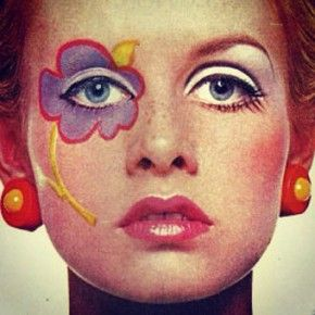 Twiggy.  She started the fashion of wearing eye makeup like this and painting flowers on our faces.