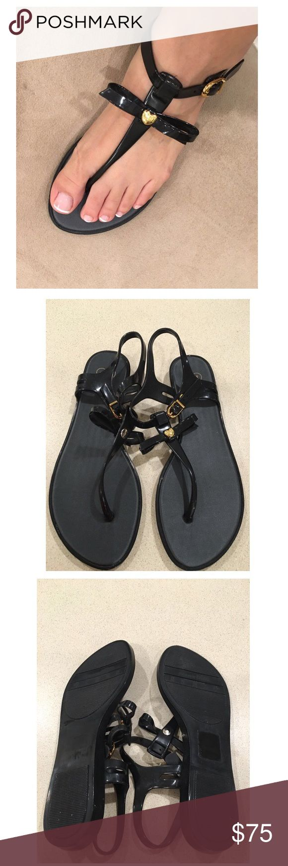 Mellisa Shoes woman's Sandals Melissa Solar woman's sandals size 7 Black Classic Solar jelly sandals are made for confortable and flexible Melflex plastic in glossy black. . The sandals are adorned with bow and golden heart ❤️ on elegant toe strap.Looks New Perfect Condition Melissa Shoes Sandals