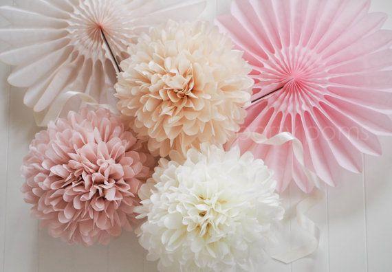 7 Tissue Party Poms .. Wedding Reception Decorations door PartyPoms