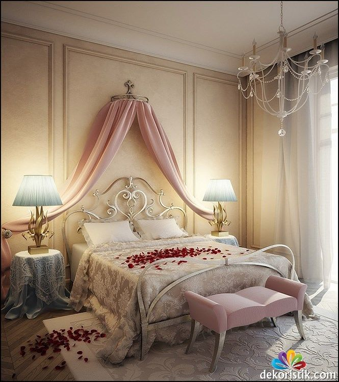 Romantik pembe renk yatak odasi