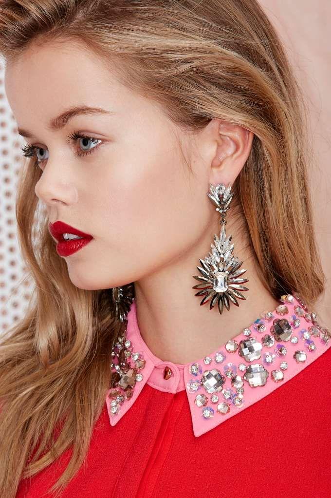 Get Spiked Jewel Drop Earrings - Earrings |  | Jewelry