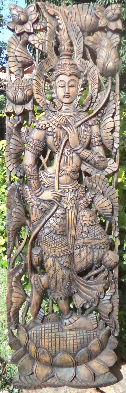 Carved wood panel teak dancer asian wall decor by Teakdelight