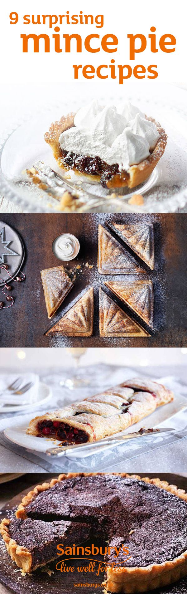 Christmas wouldn't be complete without a mince pie and we've got 9 recipes to make them even better. Give your classic mince pies a tasty twist with these great recipes. We've got marshmallow mince pies, gluten-free mince pies, mince pie baked cheesecake and mince pie toasties. If you're looking for something a bit different this Christmas, head to the Sainsbury's recipe website