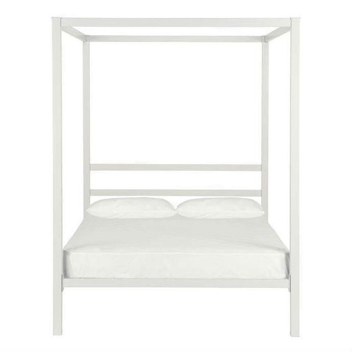 Full size Modern White Metal Canopy Bed Frame