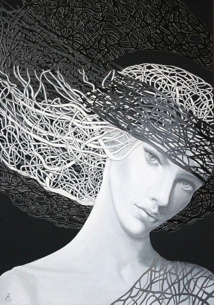 Anna Rączka ,,Nokturn''olej na płótnie 100 x 70 cm