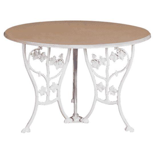 Table ronde Lierre Caractéristiques produit : Hauteur : 0.69 m. Longueur : 1.2 m. Largeur : 1.2 m. Poids : 17 Kg