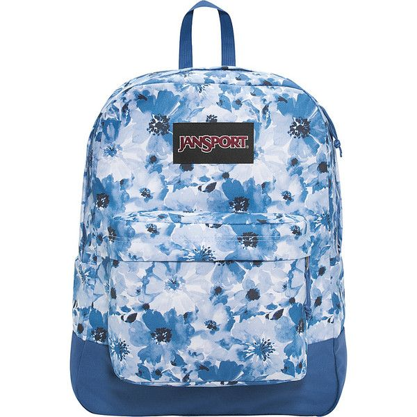 JanSport SuperBreak Backpack - Multi Turkish Dutch Floral - School... (£30) ❤ liked on Polyvore featuring bags, backpacks, blue, jansport, blue floral backpack, padded bag, jansport daypack and floral print backpack