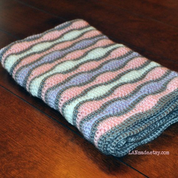 Baby Wave Afghan Pink Purple White Grey Gray Crochet