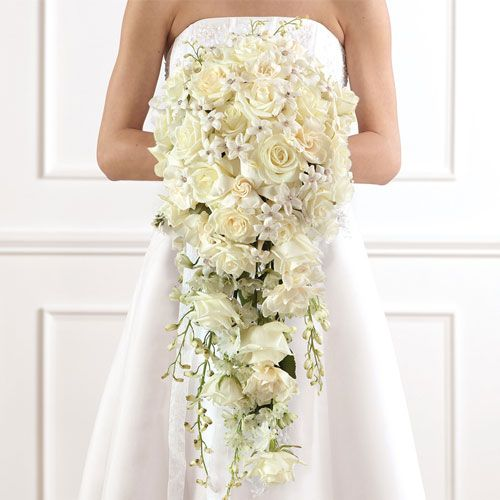 cascading hydrangea bridal bouquet | White roses, dendrobium orchids, gardenia, lily of the valley and ...