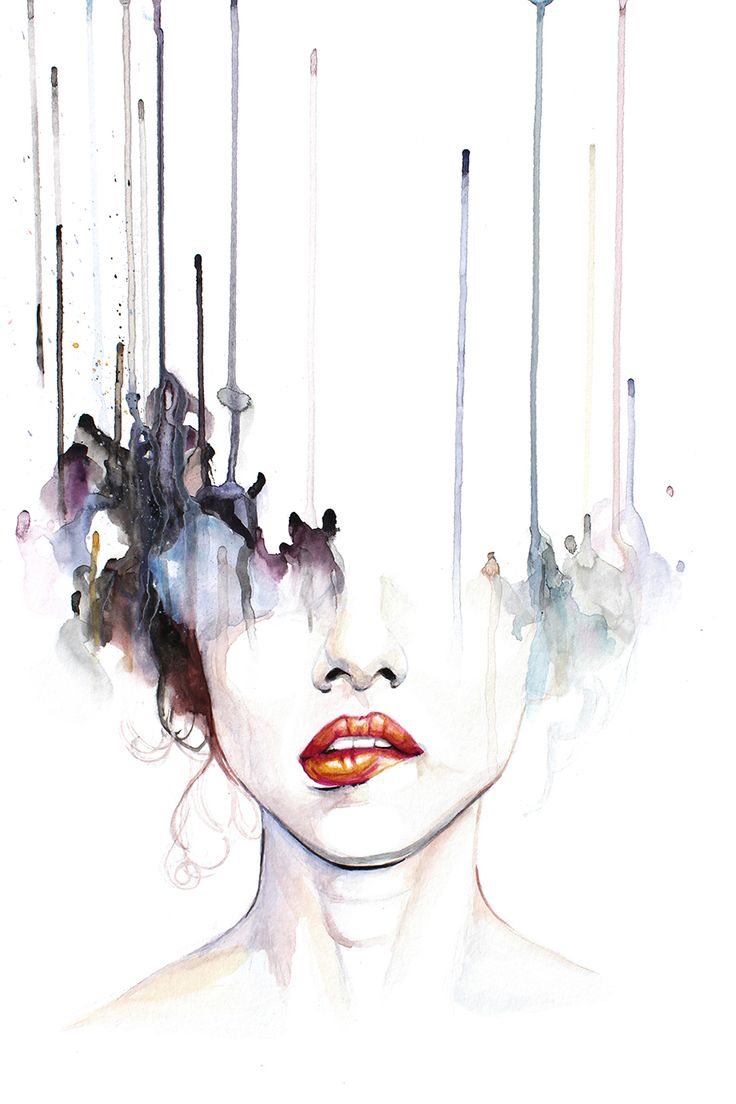 Candy From F****ing Strangers - contemporary watercolor portrait by defectivebarbie #watercolorarts