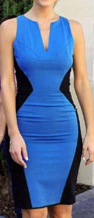 V-neck Sleeveless Slim Patchwork Pencil Knee-length Dress