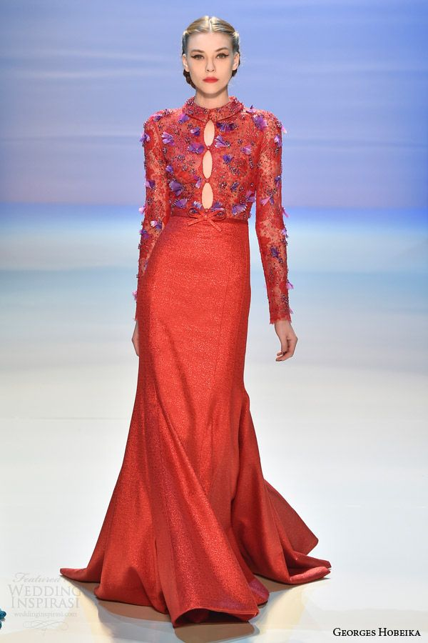 georges hobeika couture fall winter 2014 2015 look 33 red gown long sleevesa multi keyhole