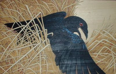 pyrography and acrylic paint, raven