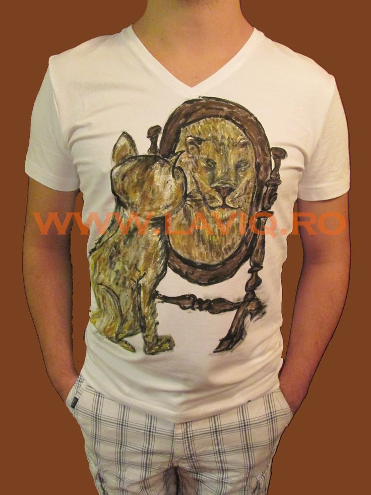 Tricou pictat Cat mirror lion