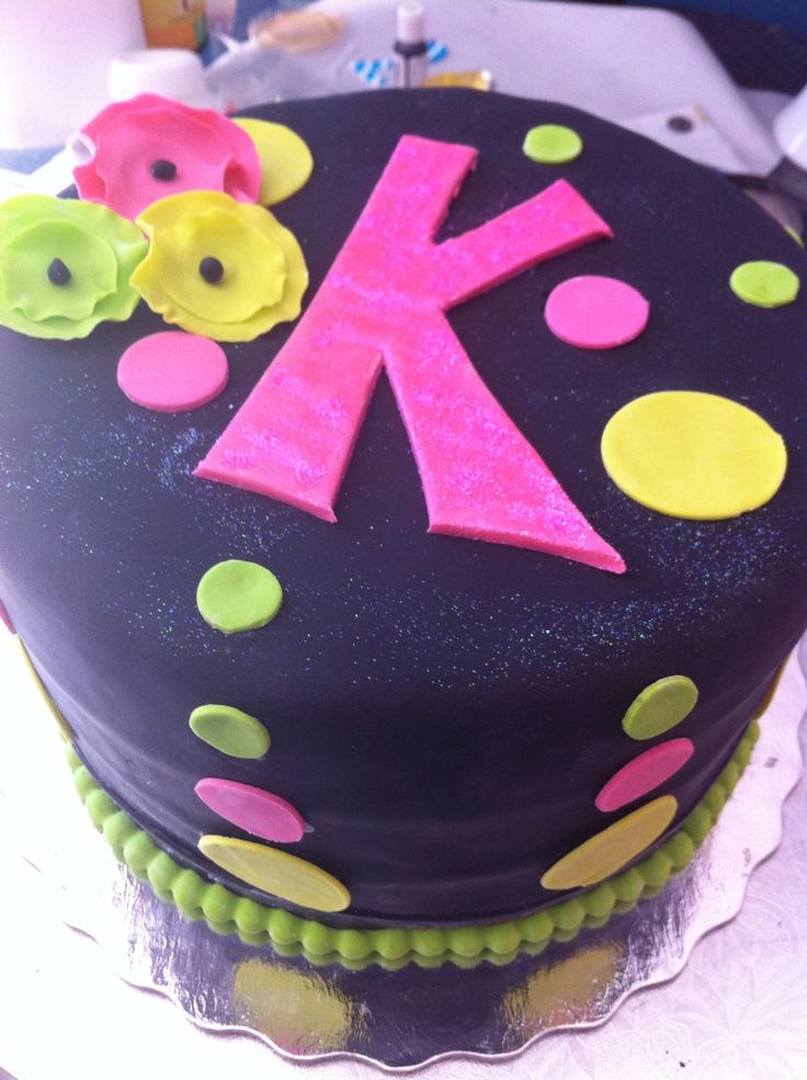 Neon birthday cake for an even BRIGHTER 11 year old girl! by Cloud 9 Bakery www.cloud9bakerycafe.com