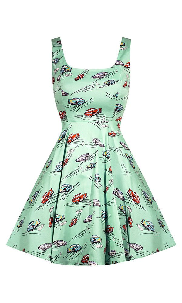super fun retro style dress, mint green, full skirt silhouette, zipper, back, fitted waistline, Made in the USA, pin up, 50's car, car show, vintage look, rockabilly