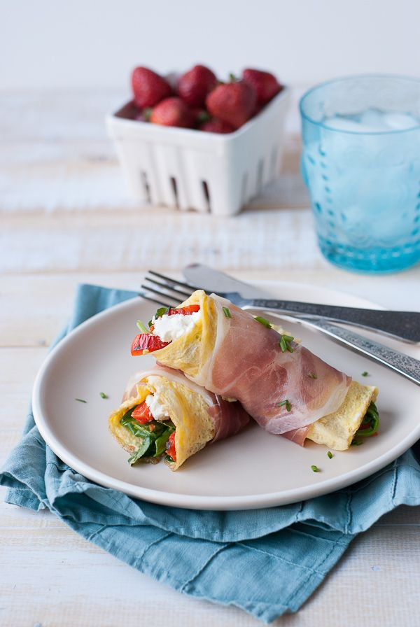 Proscuitto Wrapped Omelets with Goat Cheese Spinach and Roasted Red Peppers