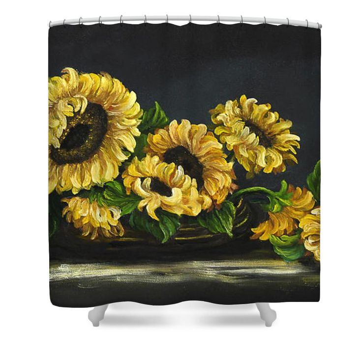 Sunflowers From The Garden Shower Curtain. To create a sunflower bathroom by Johanna Lerwick - Wildlife/Nature Art.  Prints (paper, canvas, acrylic & metal), greeting cards and throw pillows available.