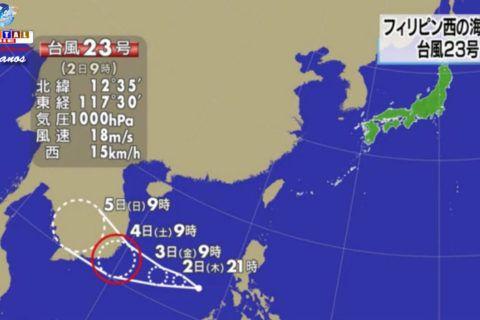 O tufão número 23 surgiu sobre a costa oeste das Filipinas nesta manhã de quinta-feira.