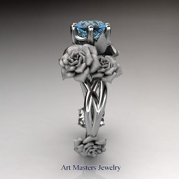 Nature Inspired 14K White Gold 1.0 Ct Blue Topaz by DesignMasters