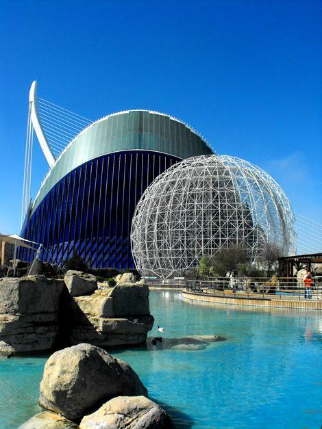 City of Arts and Sciences Complex: L'Oceanogràfic park and L'Agora , Valencia, Spain by Santiago Calatrava and Félix Candela