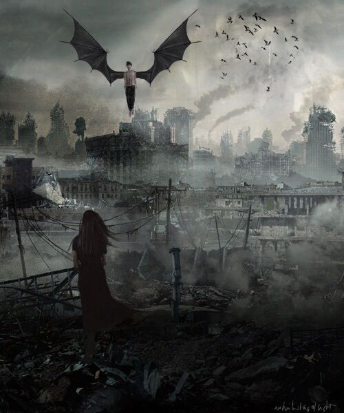 Angel apocalypse say WHAAA...  It's just how I picture the world of Angelfall with Raffe and Penryn!