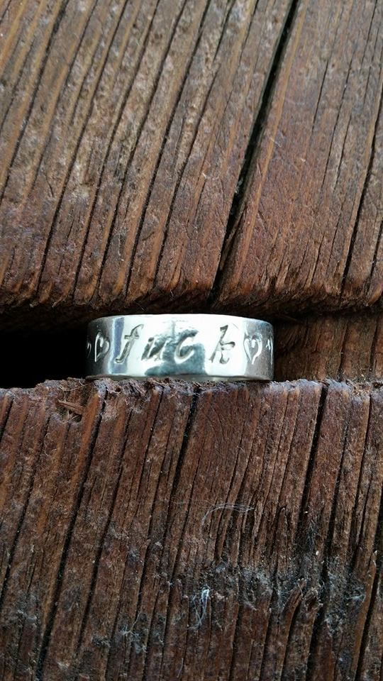 Hand Stamped R rated sterling silver rings. say what you feel!