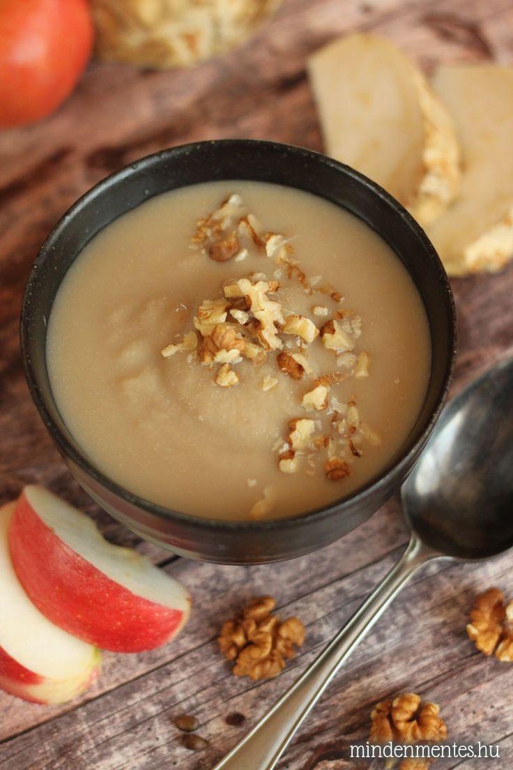 Almás, diós zellerkrémleves: az ősz ízei egy tányér krémlevesben. Növényi tejfőző automatában is elkészíthető, gluténmentes, tejmentes, vegán recept.