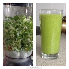 Groene smoothie amandelmelk-andijvie-banaan-sinaasappel-kiwi