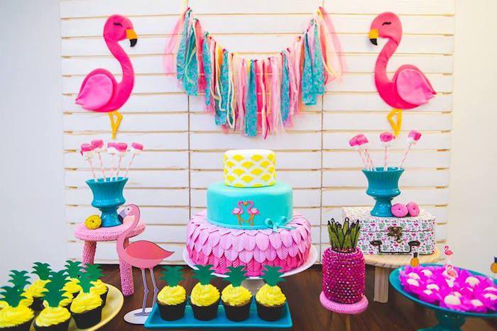 Dessert table close-up from a Tropical Flamingo Birthday Party on Kara's Party Ideas | KarasPartyIdeas.com (27)