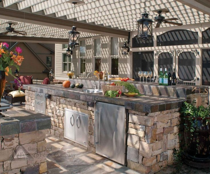 Amazing Guys Big Bite Outdoor Kitchen With Vintage Pendant