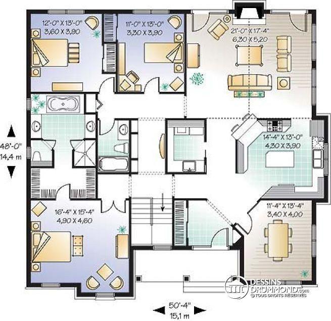 Plan de Rez-de-chaussée Plain-pied style européen, 3 chambres, plafond cathédrale, foyer, vaste cuisine - Colin