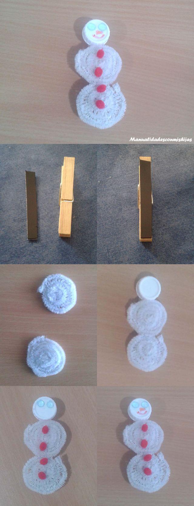 Muñeco de nieve con limpiapipas en una pinza con imán para el frigorífico o nevera
