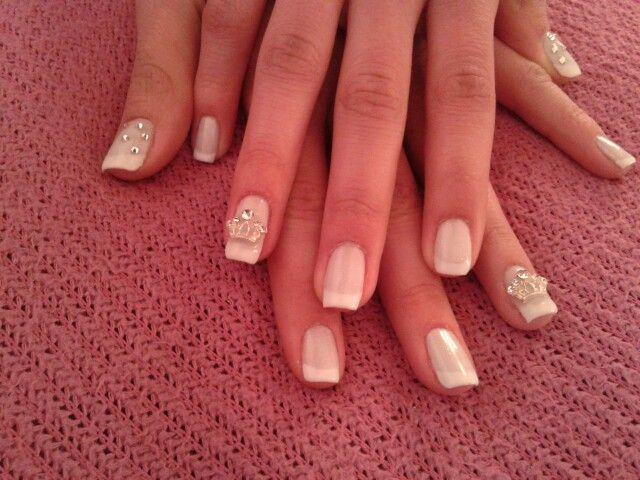 french manicure with swarovski