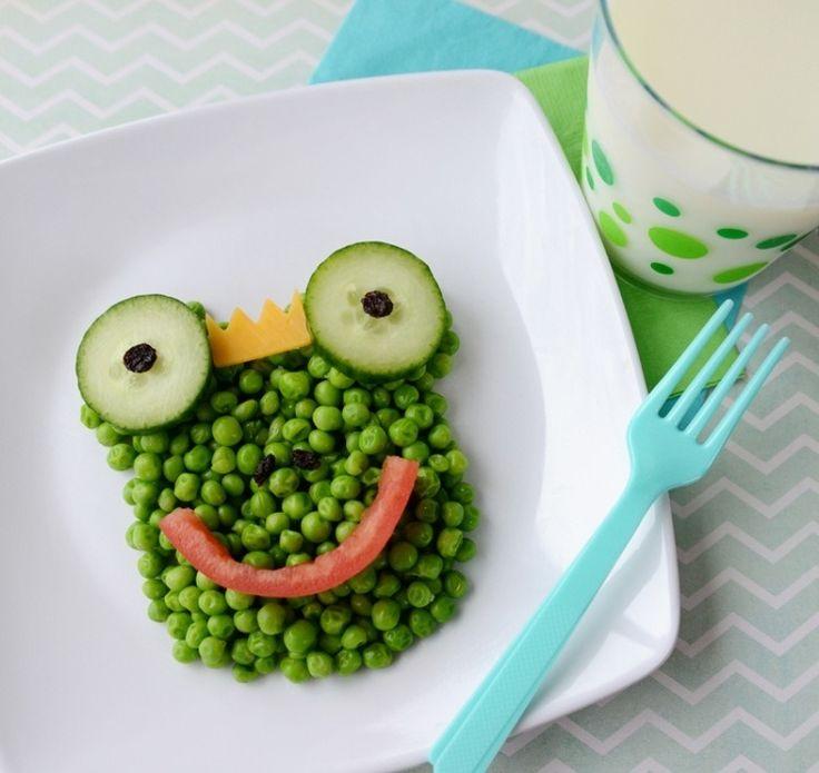 idées repas santé amusant pour enfant: grenouille en petits pois