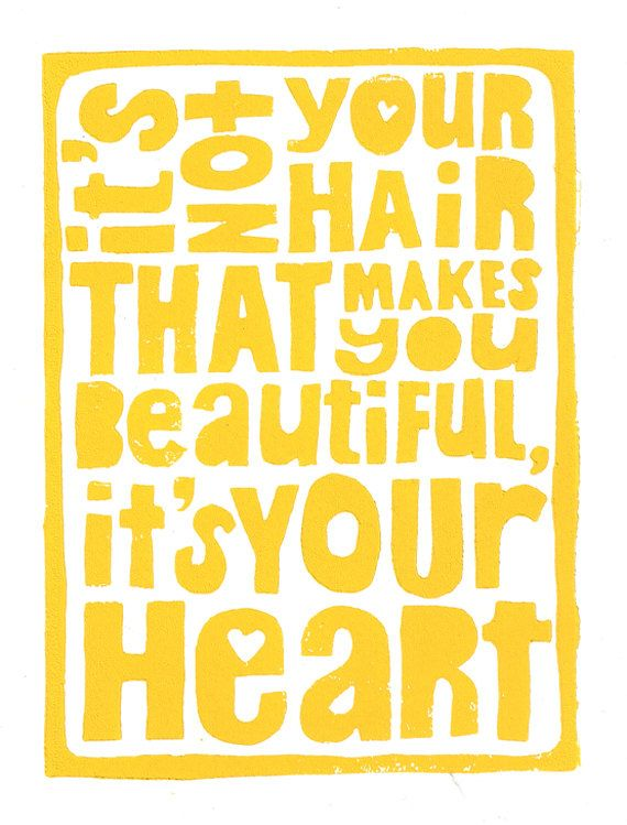 Your Beautiful Heart  - #Cancer Inspired Yellow 8x10 Linocut Print