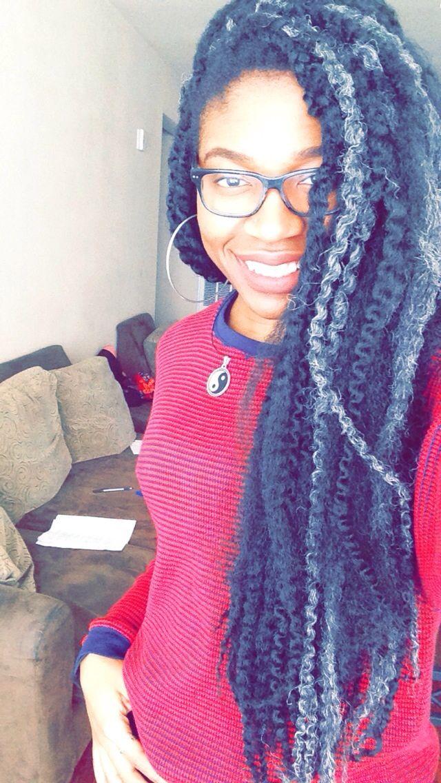 Marley hair crochet braids, black and silver | hair ideas