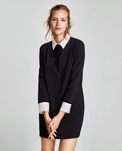 CONTRASTING MINI DRESS-Mini-DRESSES-WOMAN   ZARA United States