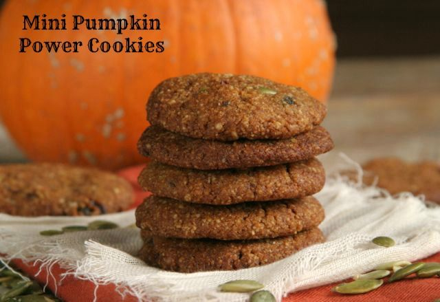 Mini Pumpkin Power Cookies - grain free uses almond flour AND vegan!!  I just made these, and they ROCK!  A lovely crunchy exterior
