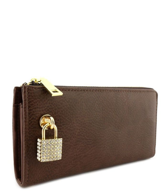 Rhinestone Lock Purse Wallet Coffee - Abfabulous Fashion