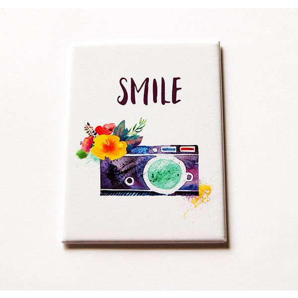 Camera Magnet Smile Magnet Aceo Magnet Fridge Magnet Gift for... (17 ILS) ❤ liked on Polyvore featuring home, home decor, office accessories, home & living, kitchen & dining, kitchen décor, refrigerator magnets, silver, magnets refrigerator and magnet fridge