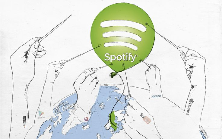 Illustration to article about the company Spotify.