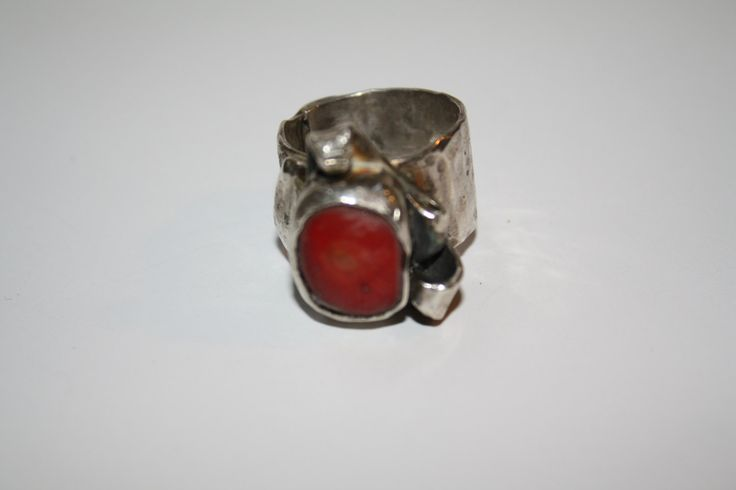 Sterling Silver Ring with Coral stone / jewelry by Debsmetalwork on Etsy