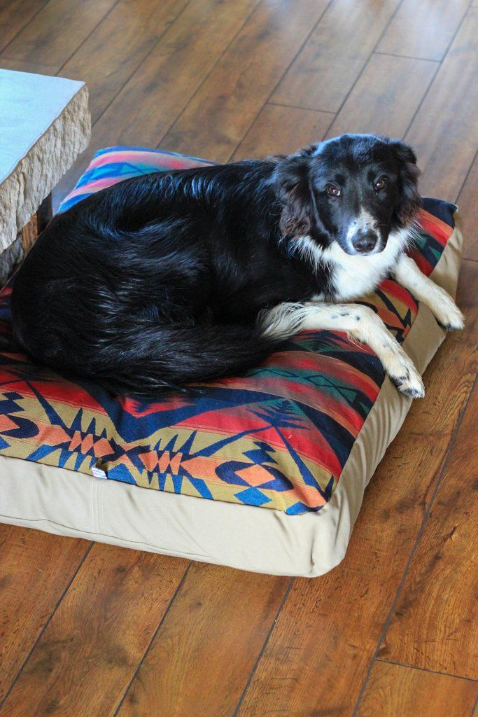 Southwestern Canvas & Wool Dog Bed