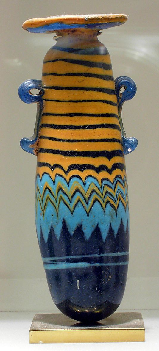 Egyptian Glass Alabastron; Late Period, Dynasty 26–29, 664–332 BC.