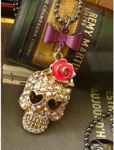 Punk Style Skull Long Necklace-  With hearts as eyes| Necklace | Jewelery | StringsAndMe