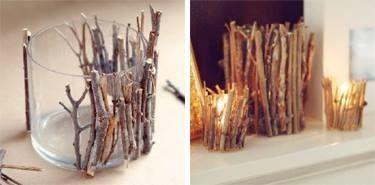 Takjes uit de tuin of bos met lijmpistool aan de vaas vastplakken.